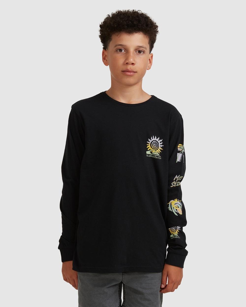 Quiksilver - Boys 8 16 Island Pulse Long Sleeve T Shirt - Long Sleeve T-Shirts (Black) Boys 8-16 Island Pulse Long Sleeve T-Shirt
