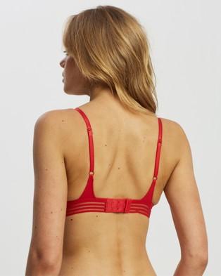 Heidi Klum Intimates Stripe Elastic & Papertouch Demi Bra - Underwire Bras (Chinese Red)
