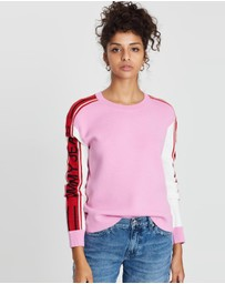 Logo Sleeve Colour-Block Jumper
