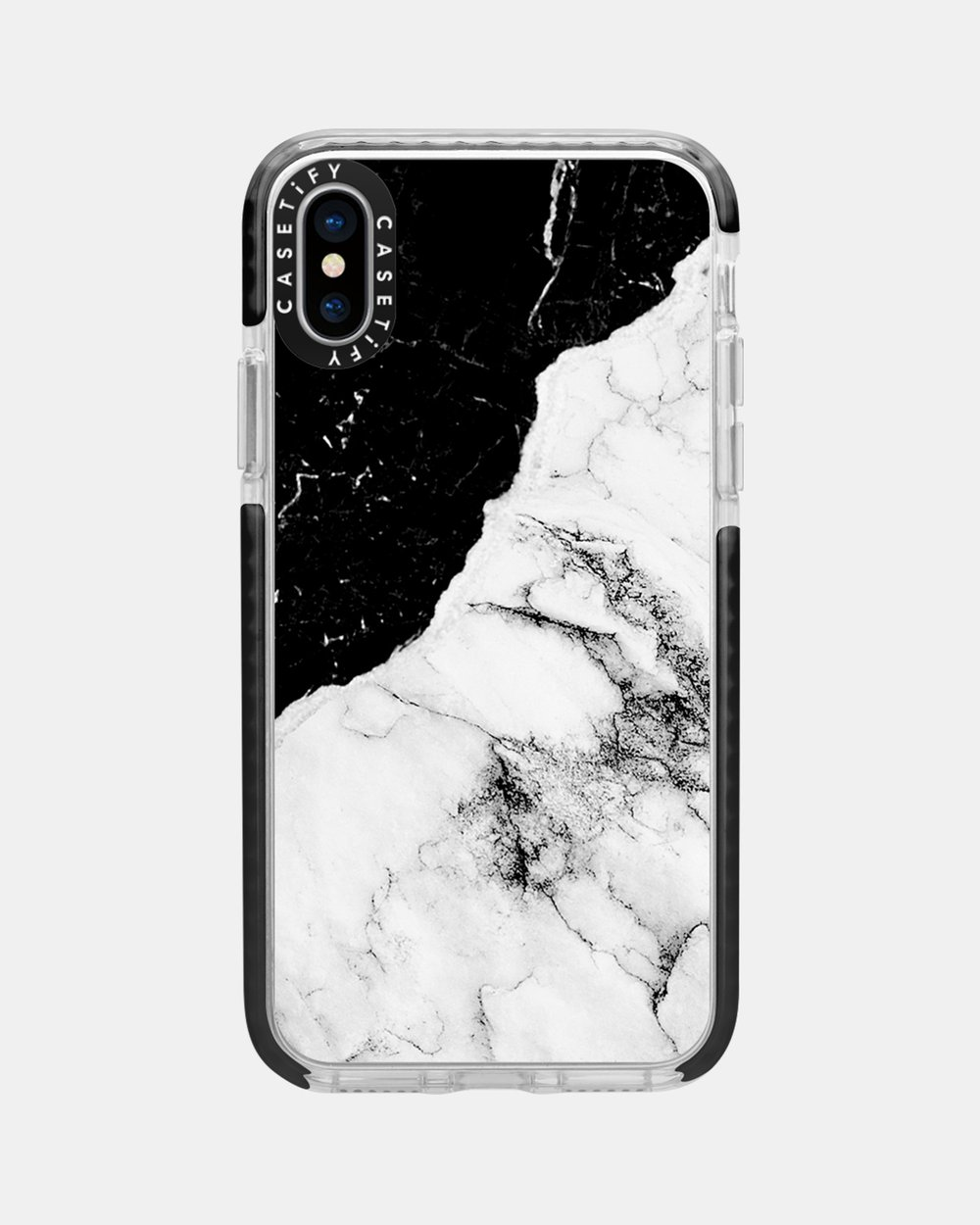 the best attitude c4f98 607c2 Black and White Contrast Marble Impact Protective Case for iPhone XS/  iPhone X – Black