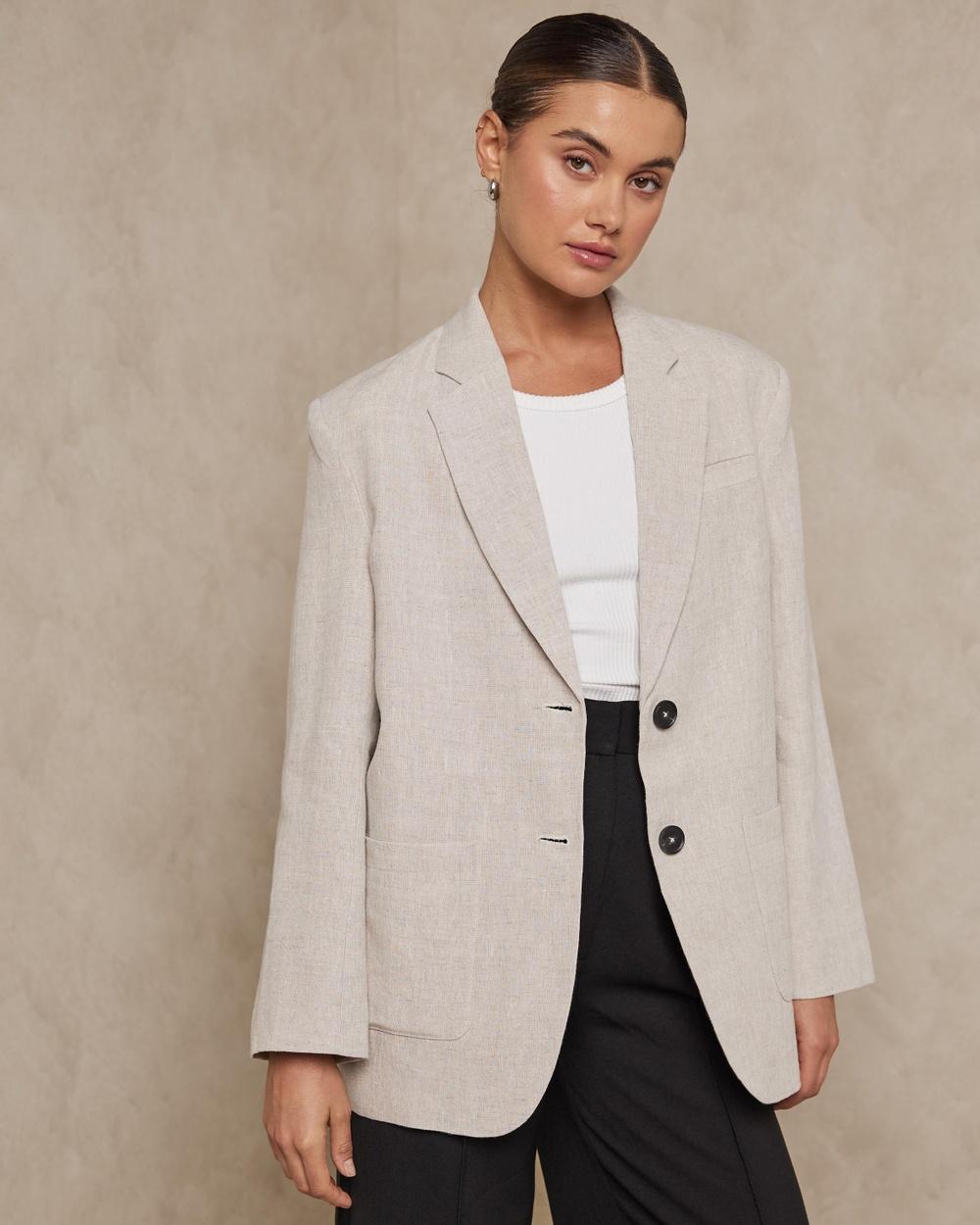 AERE Oversized Linen Blazers Neutral