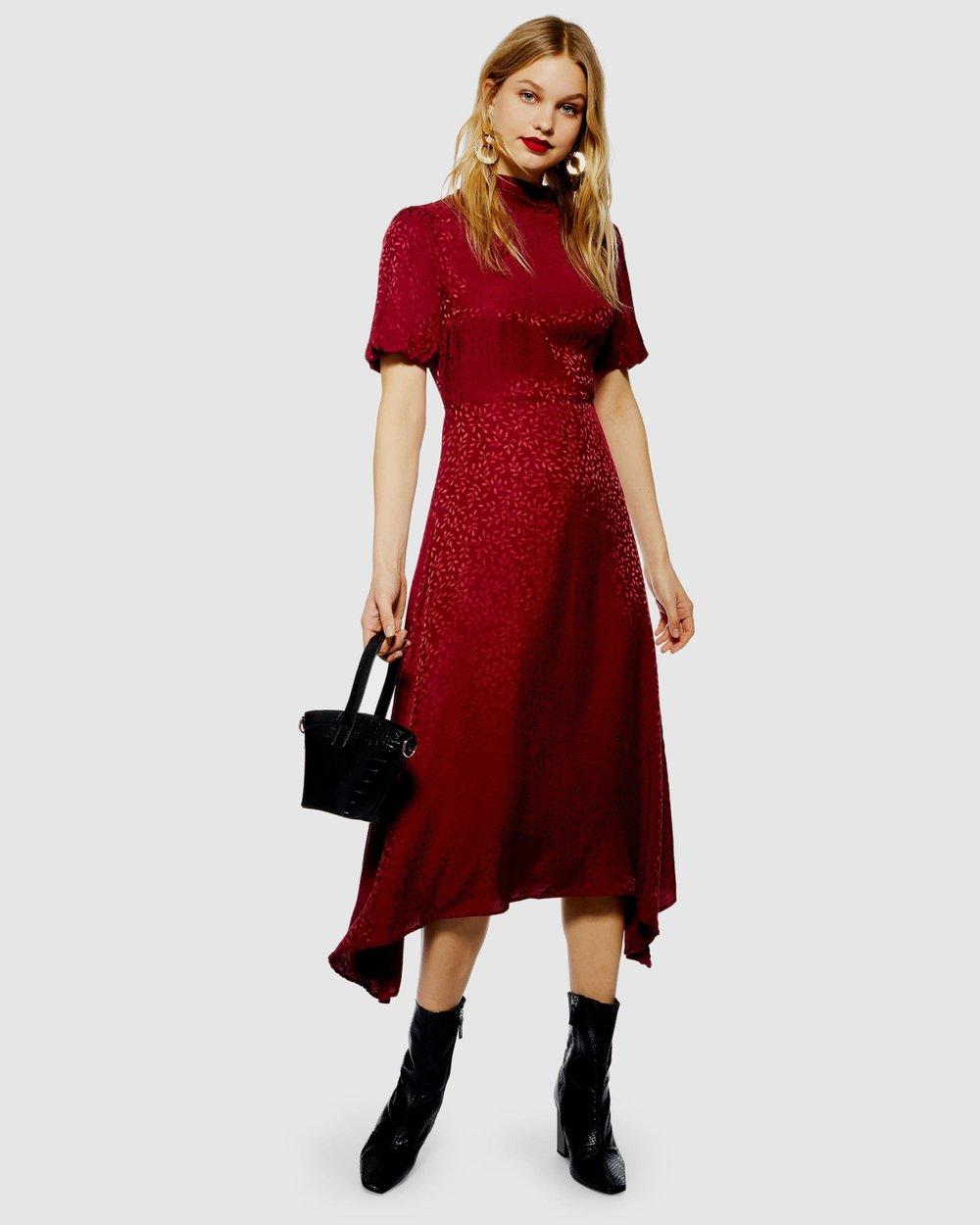 437e42624197 Jacquard Hanky Hem Dress by TOPSHOP Online | THE ICONIC | Australia