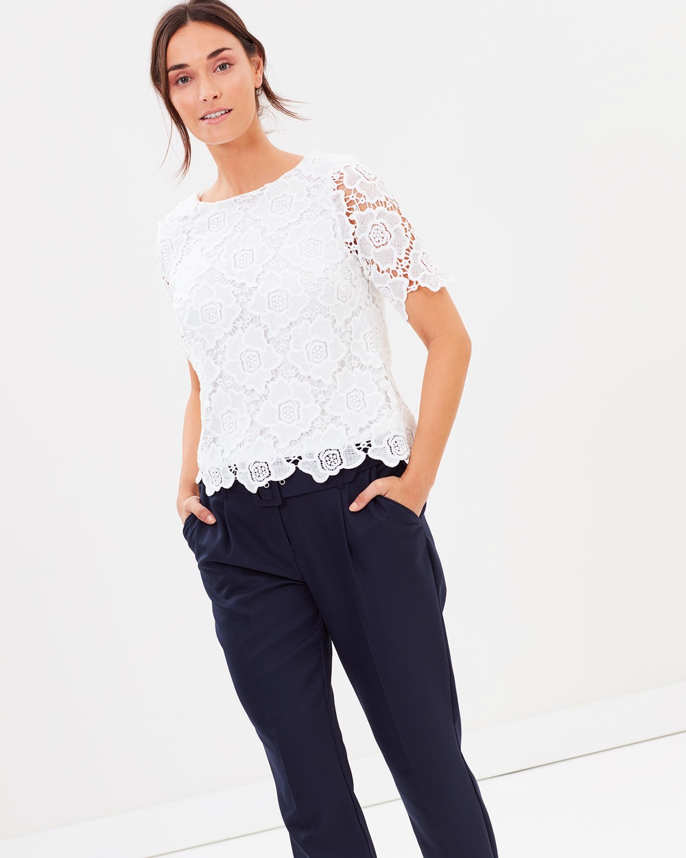Dorothy Perkins Lace Tee Tops Ivory Lace Tee