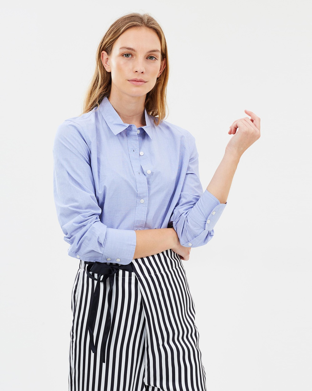 J.Crew New Perfect Shirt in End On End Cotton Tops French Blue New Perfect Shirt in End-On-End Cotton