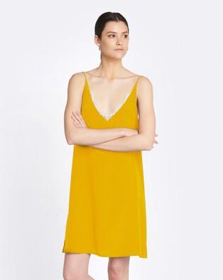 GINIA RTW – Jasmin Silk Lace Dress Saffron/Nude Lace