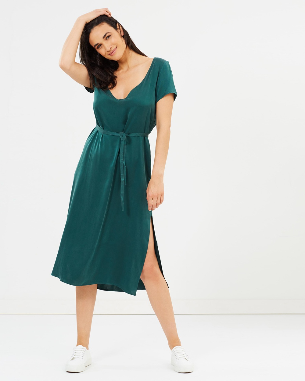 Silk Laundry Reversible T Shirt Dress Dresses Emerald Reversible T-Shirt Dress