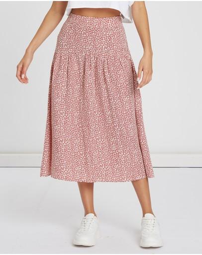 Calli Whitney Midi Skirt Red Floral