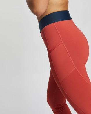 adidas Performance Tech Fit Life Mid Rise Badge of Sport Long Tights - Full Tights (Crew Red, Black & White)