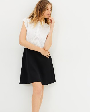 The Kooples – Mix Crepe & Lace Polo Dress