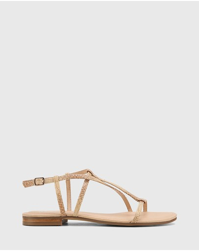 Wittner - Cass Python Print Leather Flat Sandals