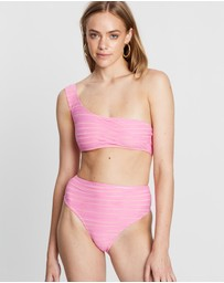 Textured Stripe One-Shoulder Bikini Top