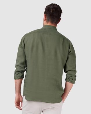 Blazer Cooper Long Sleeve Linen Plain Shirt - Shirts & Polos (Green)