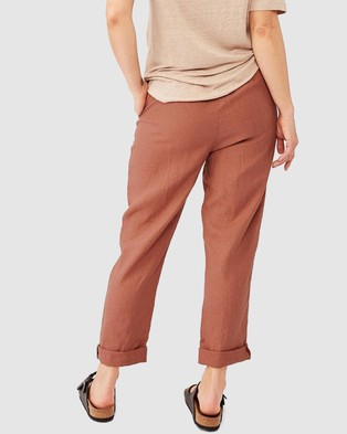 Ceres Life Relaxed Linen Pants - Pants (Rust)