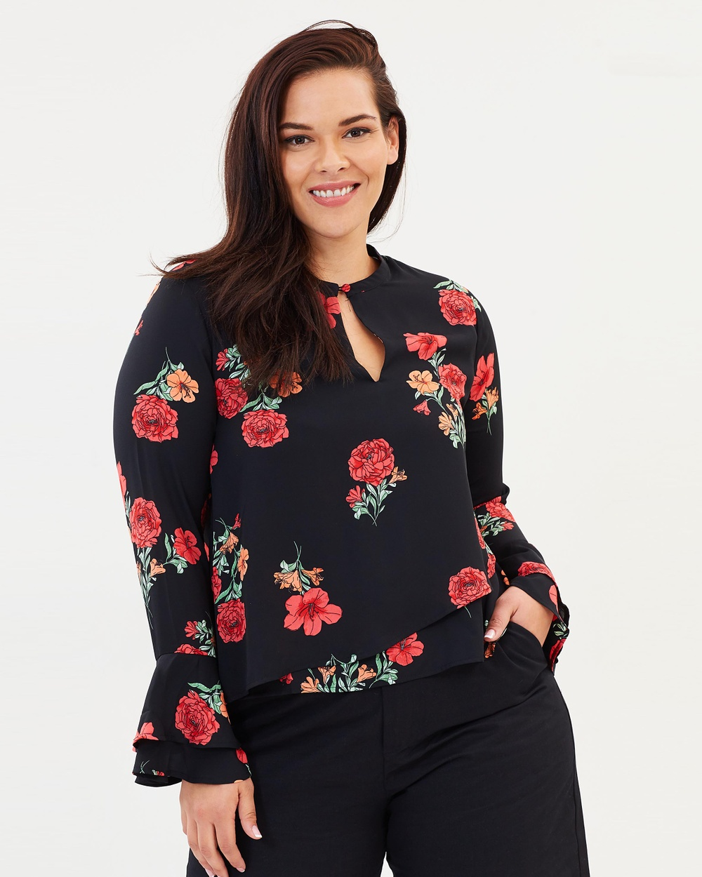 Atmos & Here Curvy ICONIC EXCLUSIVE Bianca Bell Sleeve Top Tops Black Floral ICONIC EXCLUSIVE Bianca Bell Sleeve Top