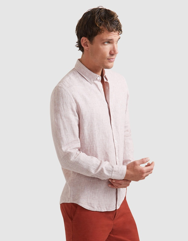 SABA - Anderson Long Sleeve Classic Yarn Dyed Linen Shirt