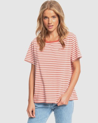 Roxy - Womens Just Float Striped Crew T Shirt - Short Sleeve T-Shirts (SNOW WHITE LOUST STR) Womens Just Float Striped Crew T Shirt