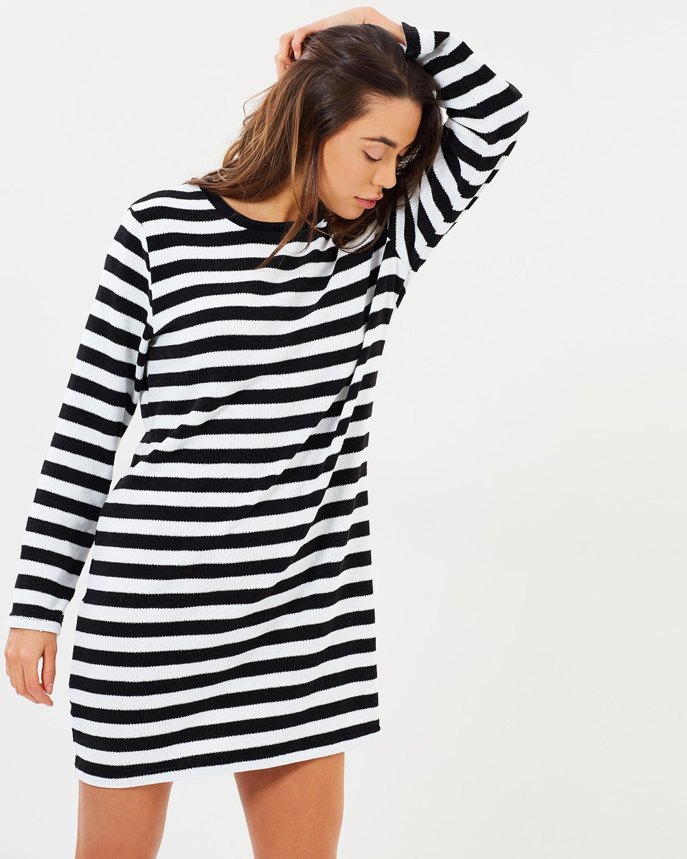 Atmos & Here ICONIC EXCLUSIVE Clea Relaxed Knit Dress Dresses Black & White Stripe ICONIC EXCLUSIVE Clea Relaxed Knit Dress