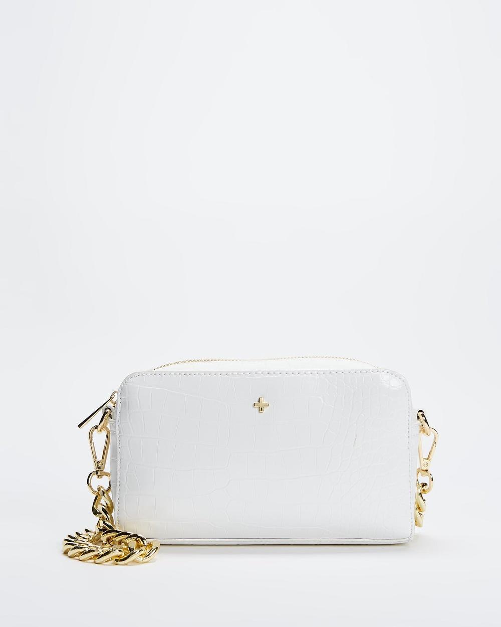 PETA AND JAIN Bond Shoulder Bag Handbags White Croc Gold