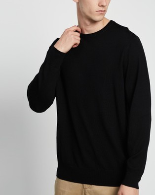 3 Wise Men The Ranger Merino Knit - Jumpers & Cardigans (Black)