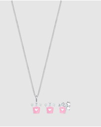 Elli Jewelry - Kids - Jewelry Set Kids Heart Crown Swarovski® Crystals 925 Sterling Silver