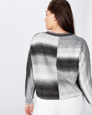 Cotton On Curve Curve Serena Cropped Batwing Pullover - Jumpers & Cardigans (Black Ombre)