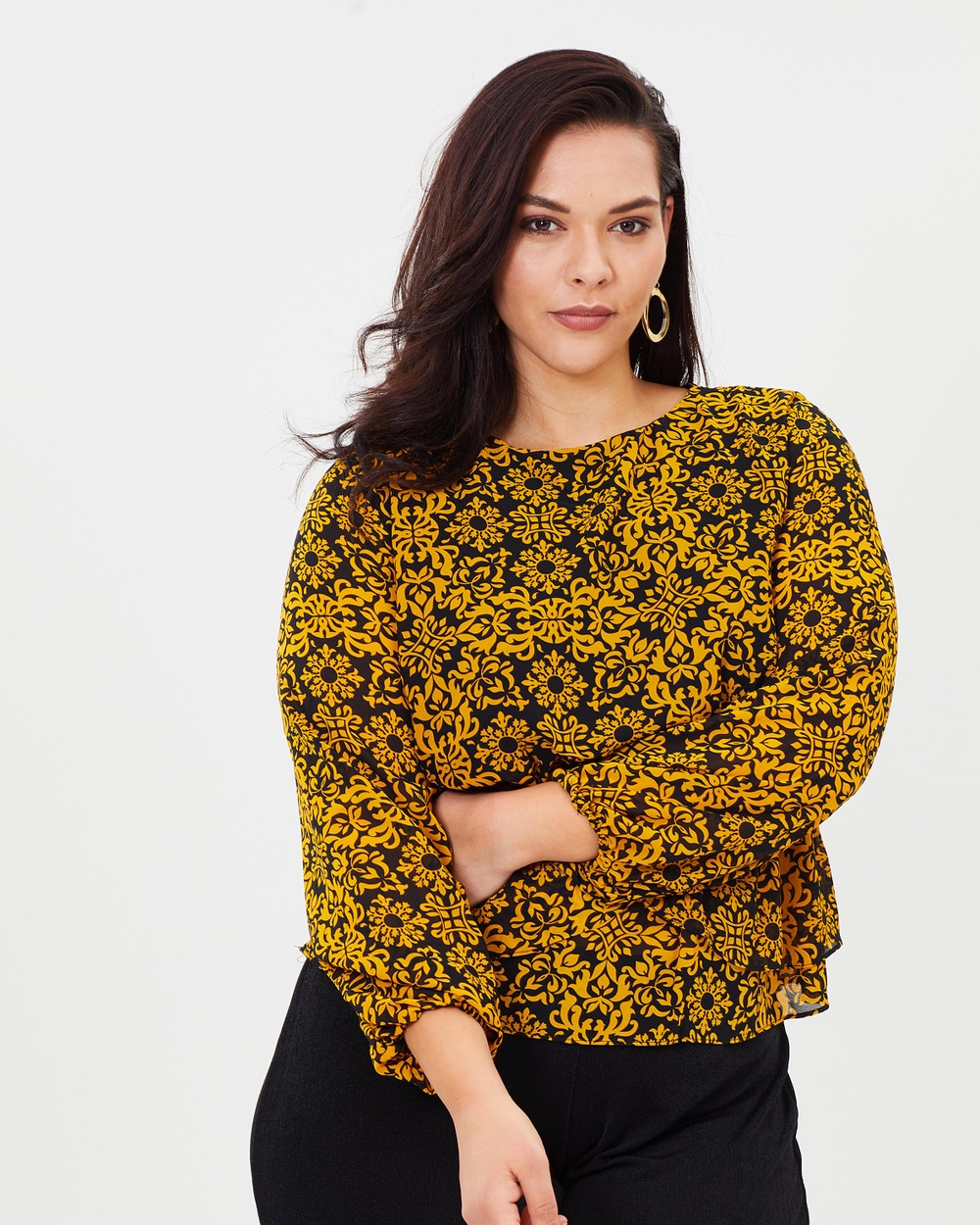 Atmos & Here Curvy ICONIC EXCLUSIVE Lulu Balloon Sleeve Top Tops Mustard Wallpaper ICONIC EXCLUSIVE Lulu Balloon Sleeve Top