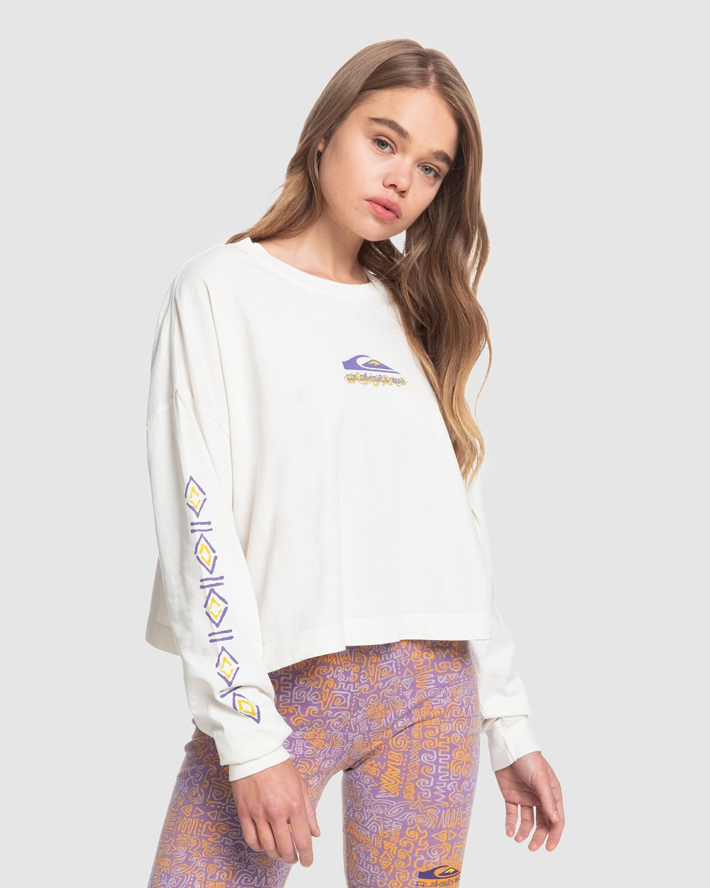 Quiksilver - Womens Fair Organic Long Sleeve T Shirt - Long Sleeve T-Shirts (LILY WHITE) Womens Fair Organic Long Sleeve T-Shirt