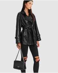 Belle & Bloom - BFF Belted Leather Jacket
