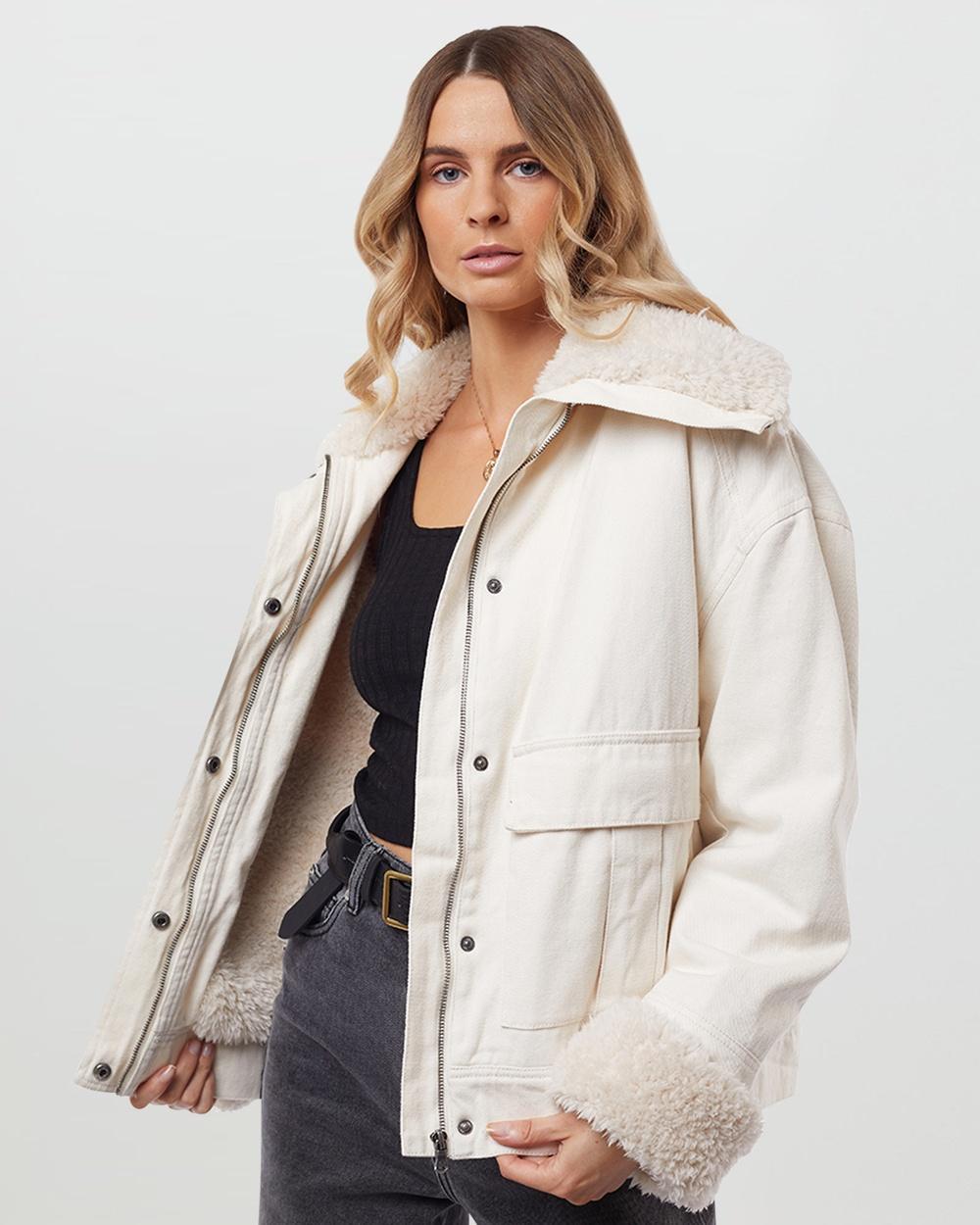 All About Eve Utility Sherpa Jacket Coats & Jackets Bone