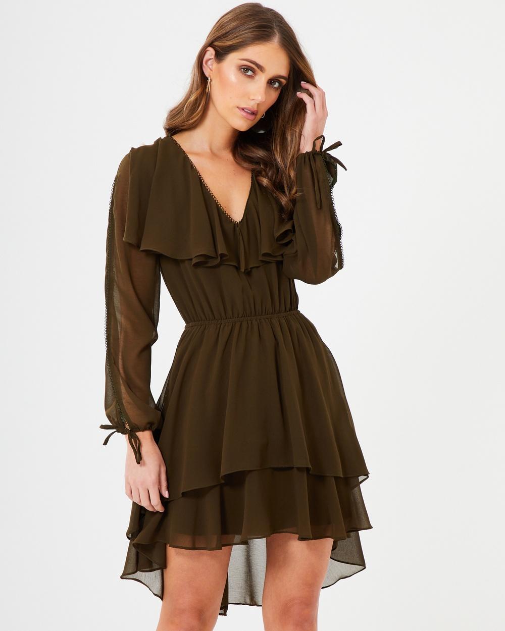 CHANCERY Alison Ruffle Dress Dresses Khaki Alison Ruffle Dress
