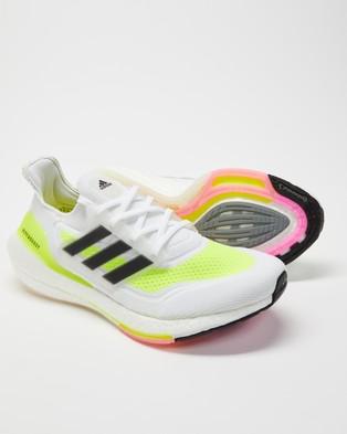 adidas Performance Ultraboost 21   Men's - Training (Cloud White, Core Black & Solar Yellow)