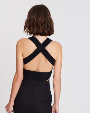 FRIEND of AUDREY Nadia Cross Back Knit Top - Cropped tops (Black)