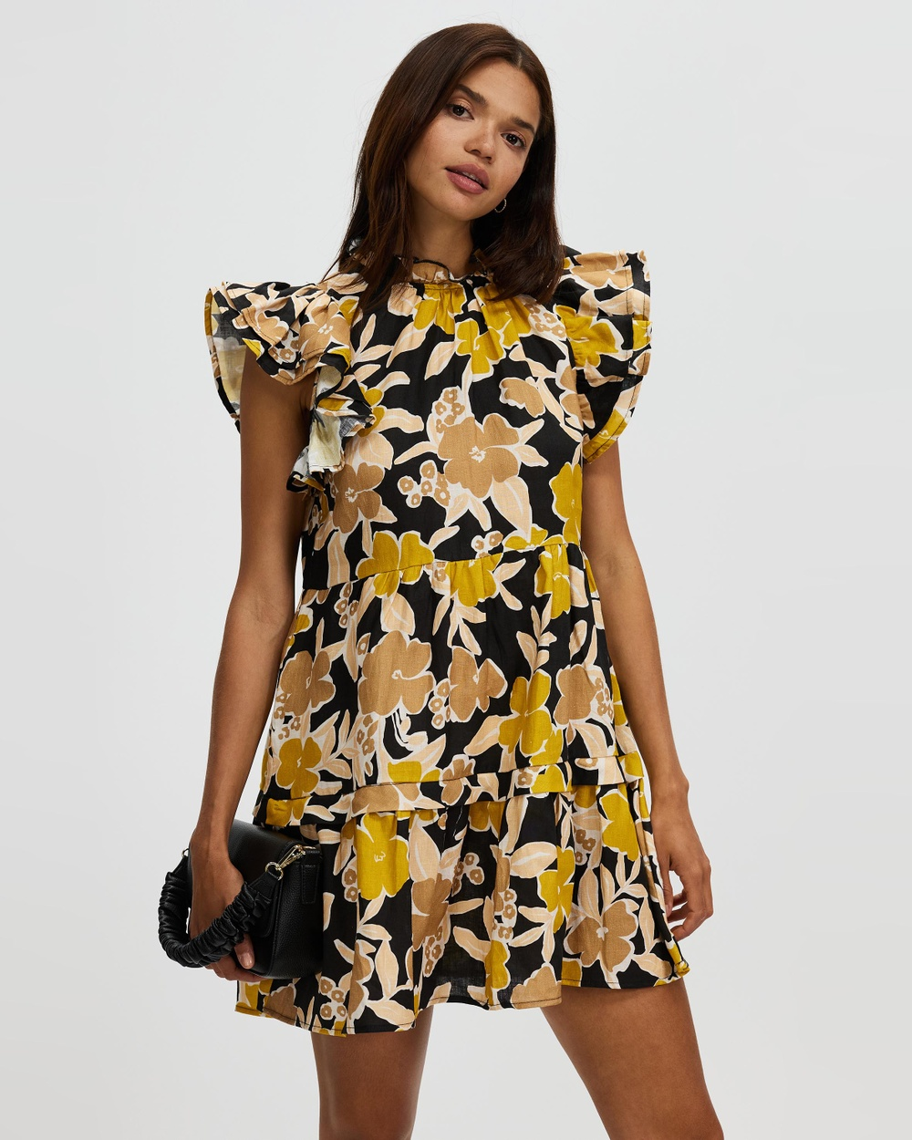 AERE Frill Sleeve Dress Printed Dresses Garden Party
