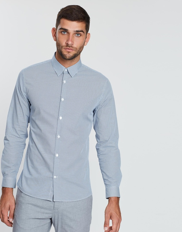 CERRUTI 1881 - Dotted Birdseye Long-Sleeve Button-Up Shirt