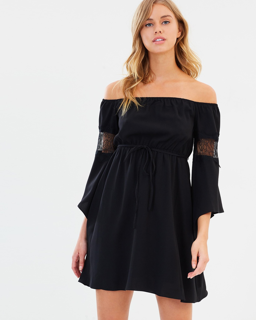 Atmos & Here ICONIC EXCLUSIVE Veda Asymmetric Dress Dresses Black ICONIC EXCLUSIVE Veda Asymmetric Dress