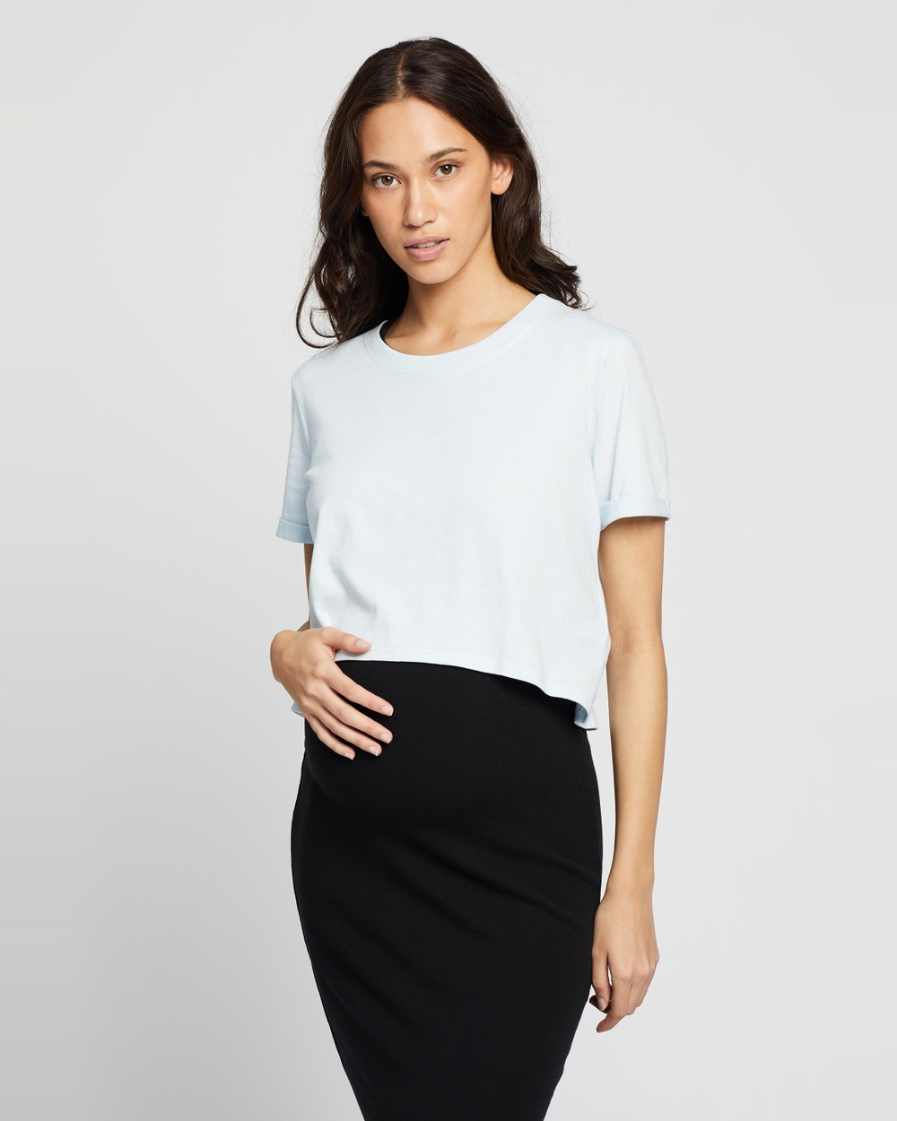 Cotton On Maternity - High Low Short Sleeve Top   The Iconic Exclusive - T-Shirts & Singlets (Illusion Blue) High Low Short Sleeve Top - The Iconic Exclusive