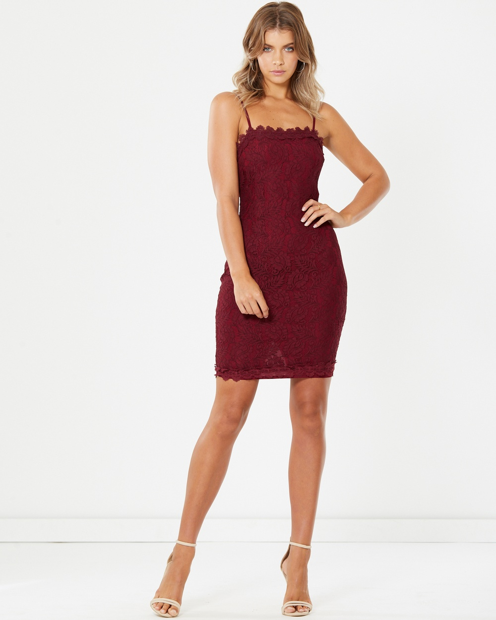 Tussah Raffi Midi Lace Dress Bodycon Dresses Plum Raffi Midi Lace Dress