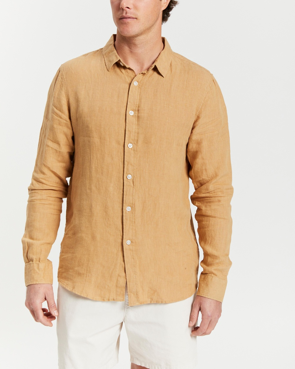AERE LS Linen Shirt Shirts & Polos Amber
