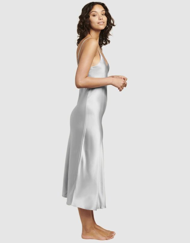Women Silk V-Neck Long Nite