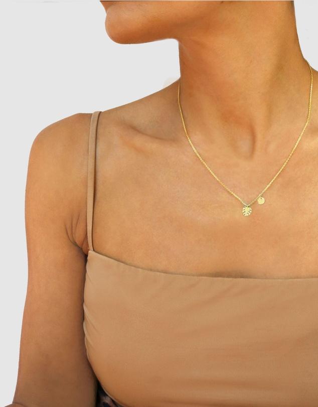 Women Mini Monstera Leaf Necklace - Gold