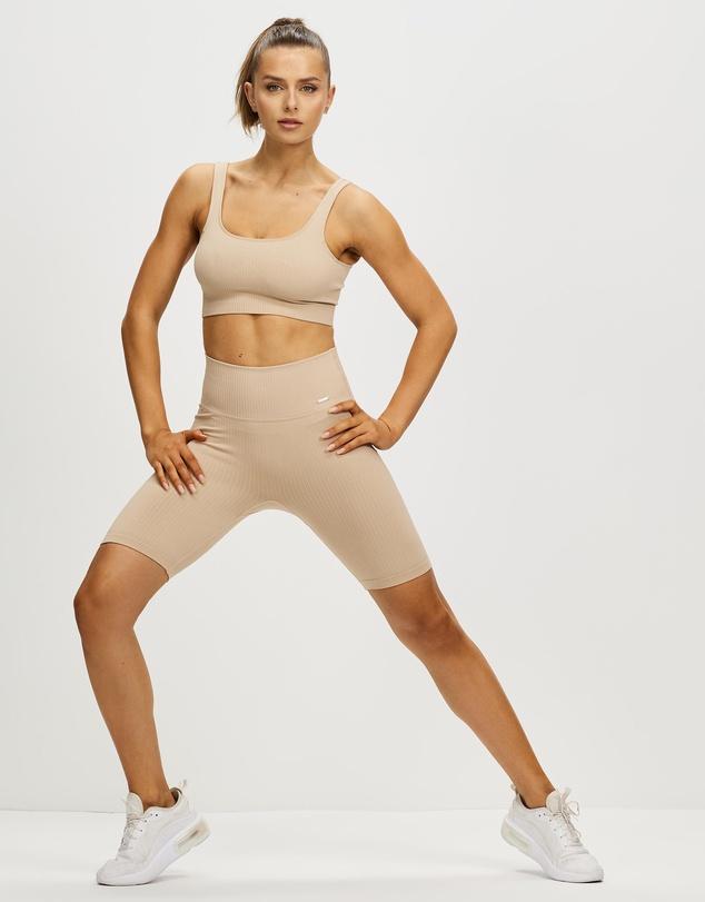 Women Ribbed Seamless Biker Shorts