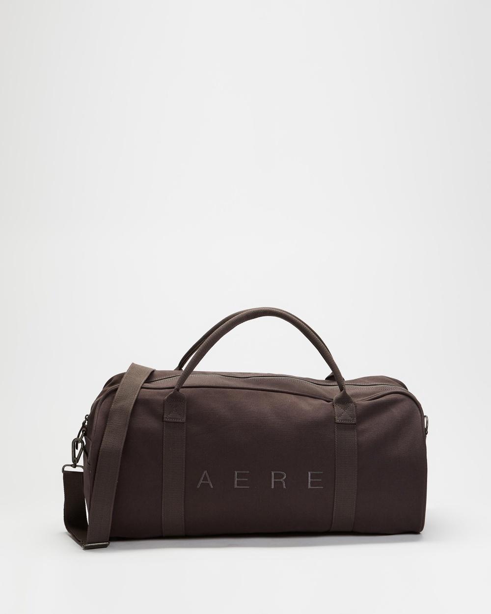 AERE Organic Canvas Weekender Duffle Bags Charcoal Black