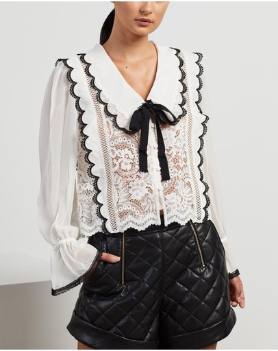 Self Portrait - Cord Lace Bow Collar Shirt