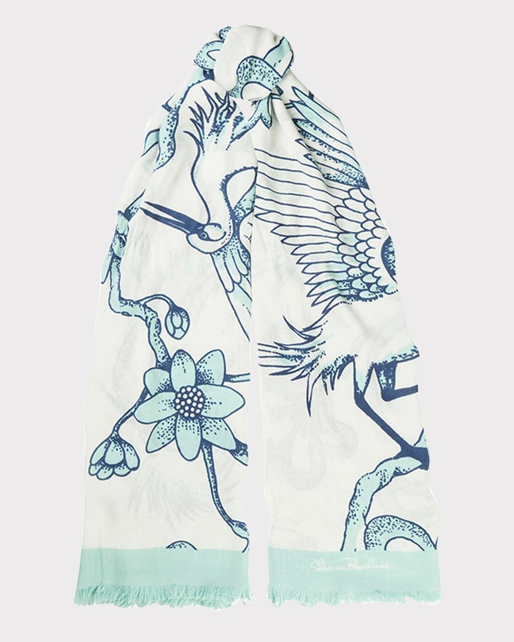 Florence Broadhurst Egrets Scarf Scarves & Gloves Teal