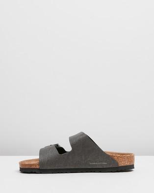 Birkenstock VEGAN   Arizona Birko Flor Regular Sandals - Sandals (Anthracite Pull Up)