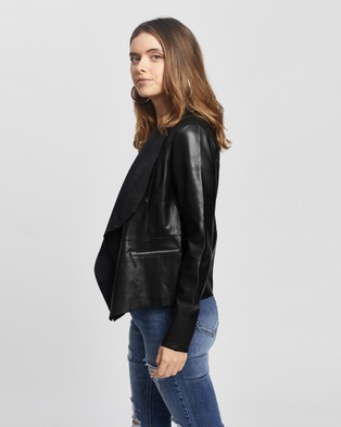 DP Petite PU Waterfall Jacket - Coats & Jackets (Black)