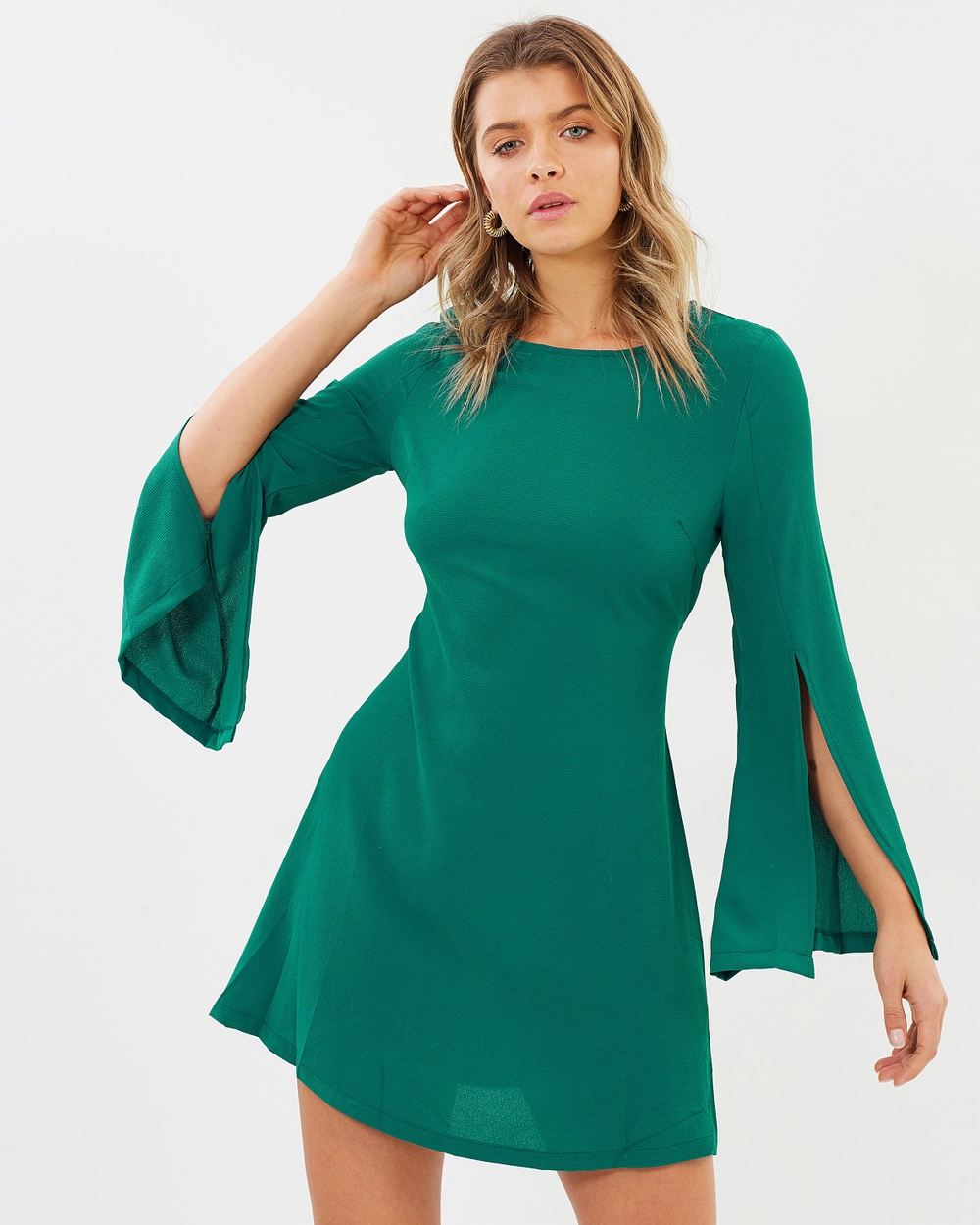 3c535e858a Atmos & Here ICONIC EXCLUSIVE Gabrielle Fluted Sleeve Mini Dress Dresses  Emerald ICONIC EXCLUSIVE Gabrielle Fluted