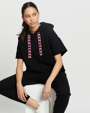 DKNY Cropped Short Sleeve Hoodie with Logo Lace Drawcord - Hoodies (Black & Laser Pink)