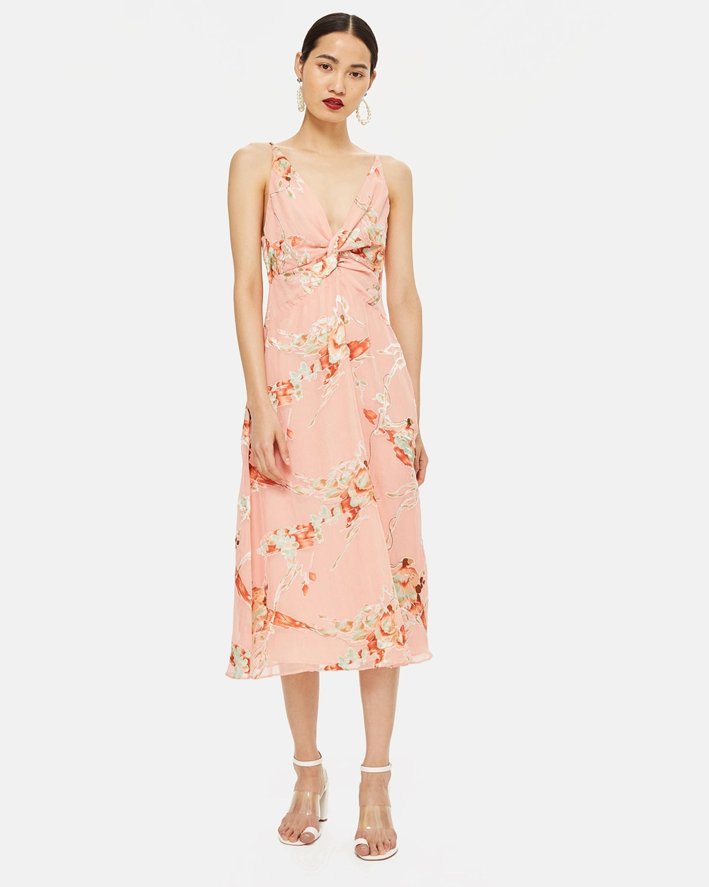 TOPSHOP Twist Front Dress Printed Dresses Blush Twist Front Dress