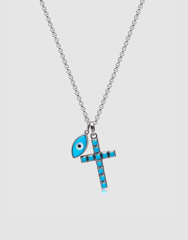 Nialaya Jewellery - Men's Cross and Evil Eye Necklace